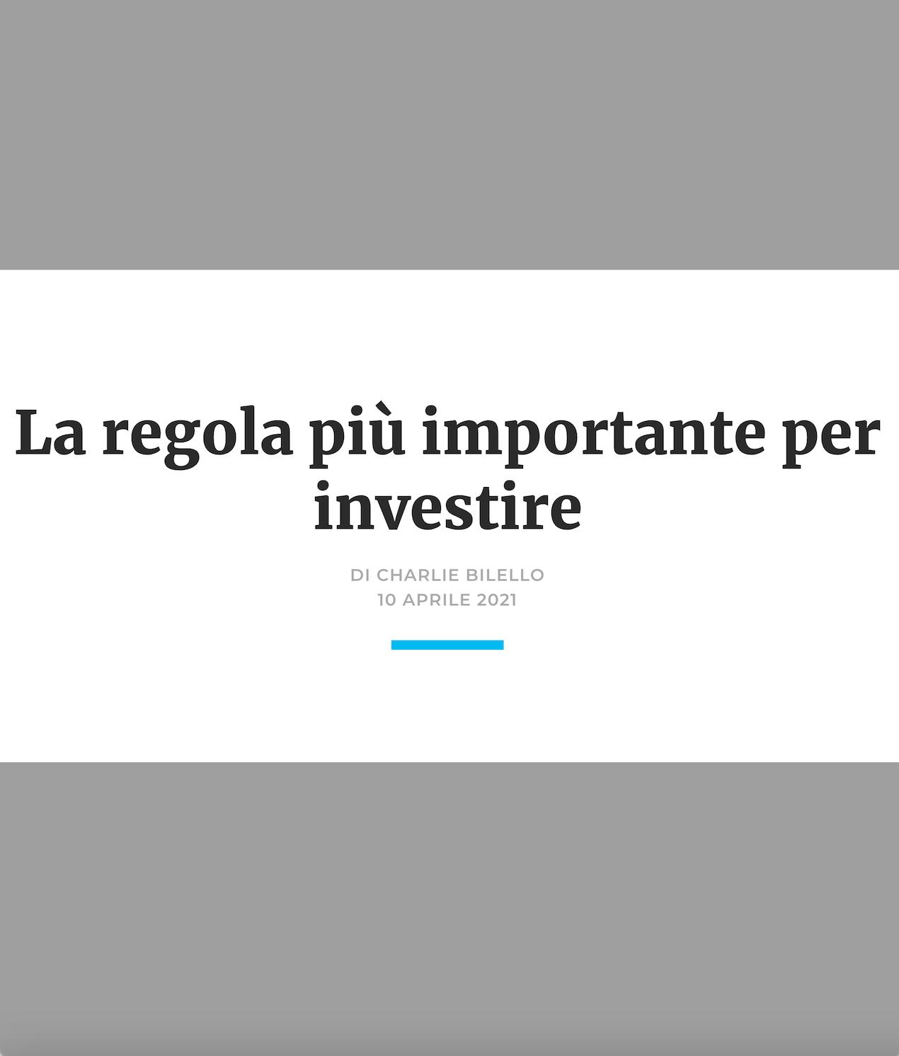 La regola più importante per investire